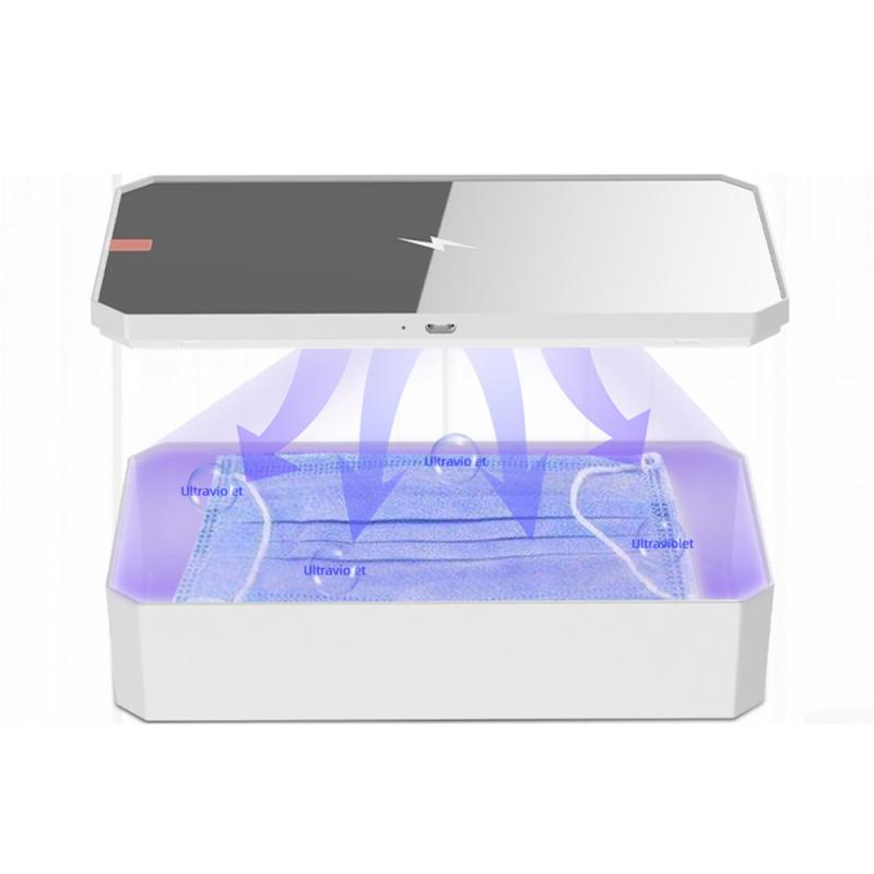 4 In1 Portable Disinfection UVC Phone Mask Fast Charger Uv Sterilizer Uvc Lamp Sterilizer Sterilizzatore Uv Box Fashion Mirror