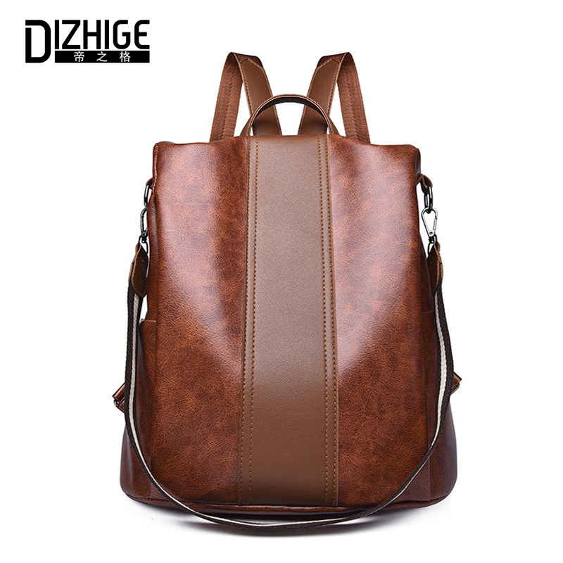DIZHIGE Brand Classic PU Anti-theft Women Backpack Multifunctional School Bag For Teenager Girl Large Capacity Female Backpacks