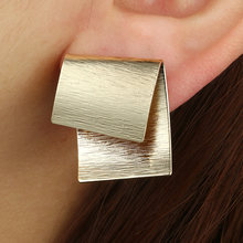 Простые модные геометрические массивные серьги золотого цвета
