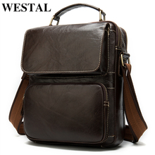 WESTAL shoulder bags men's leather crossbody bags for men vintage men's solid small handbag leather men flap essenger bag 8605