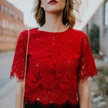 Красная Свободная блузка, женские топы с коротким рукавом, рубашки, повседневные кружевные топы, рубашки, модная женская одежда, топы