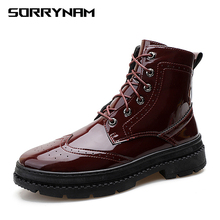 NEW Men Boots Patent Leather Men Casual Boots Lace-Up Bullock Boots Men Black Spring Autumn Winter Mens Shoes Sorrynam цена