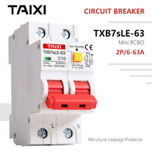 TXB7SLE-63 Mini Circuit Breaker with Residual Current and Leakage Protection 36mm Width RCBO Used for Household and Industrial  - buy with discount