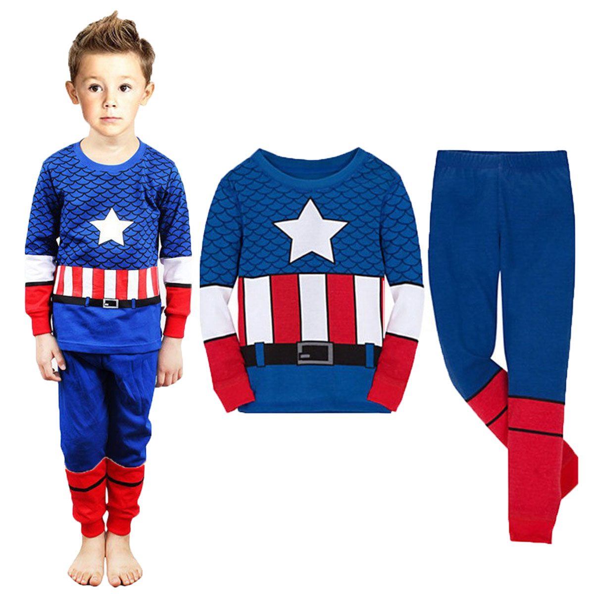 kids Boy Captain Hulk Spiderman Superhero   Pajamas     Set   Children Avenger Ironman Sleepwear Toddler Cosplay Halloween Costume 2-10Y