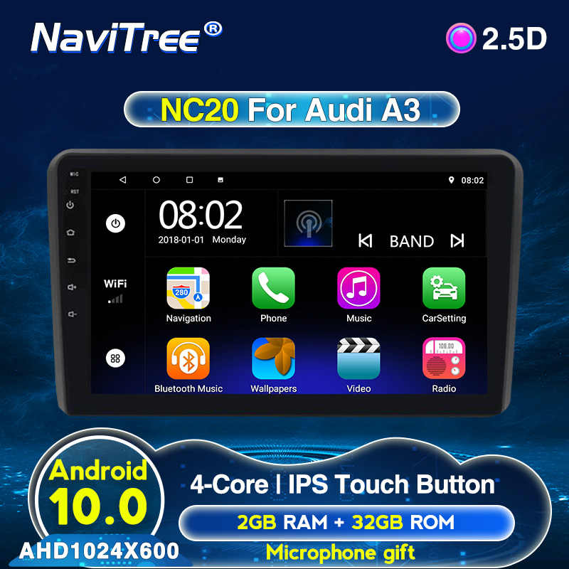 Android 2G + 32G Mobil GPS Navigasi Dvd Player untuk Audi A3 S3 2003-2012 RS3 Auto radio Wifi Bt Multimedia