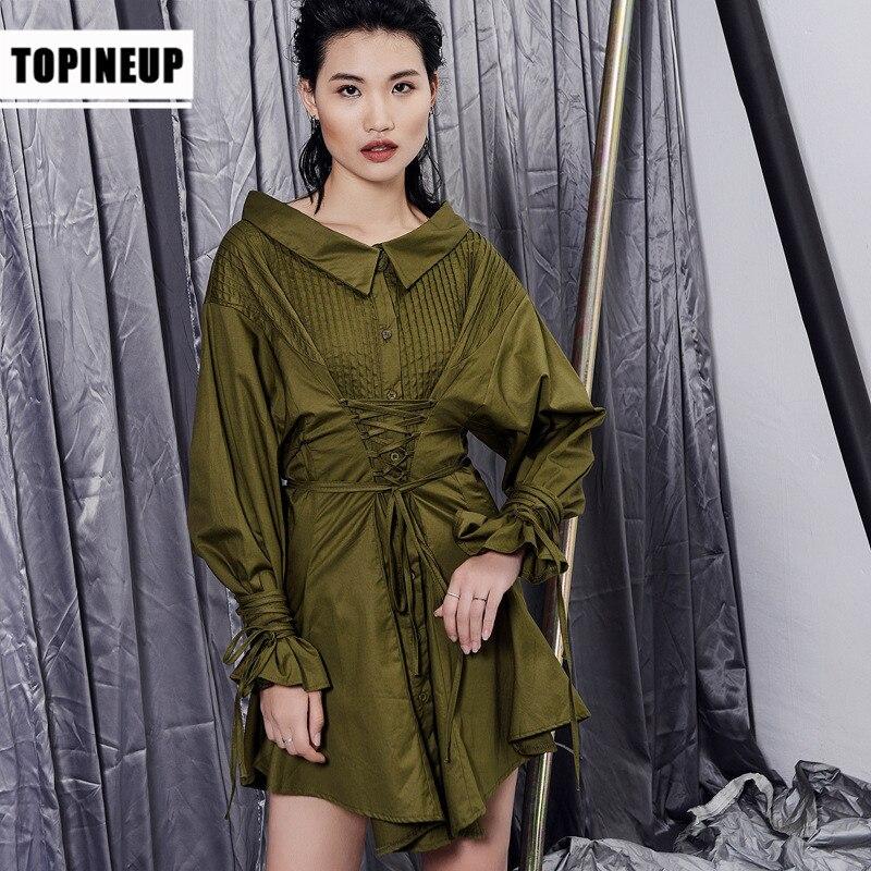 Dames piste vert foncé Sexy Blouse 2019 coréen printemps automne élégant volants travail porter femmes blouses grande taille
