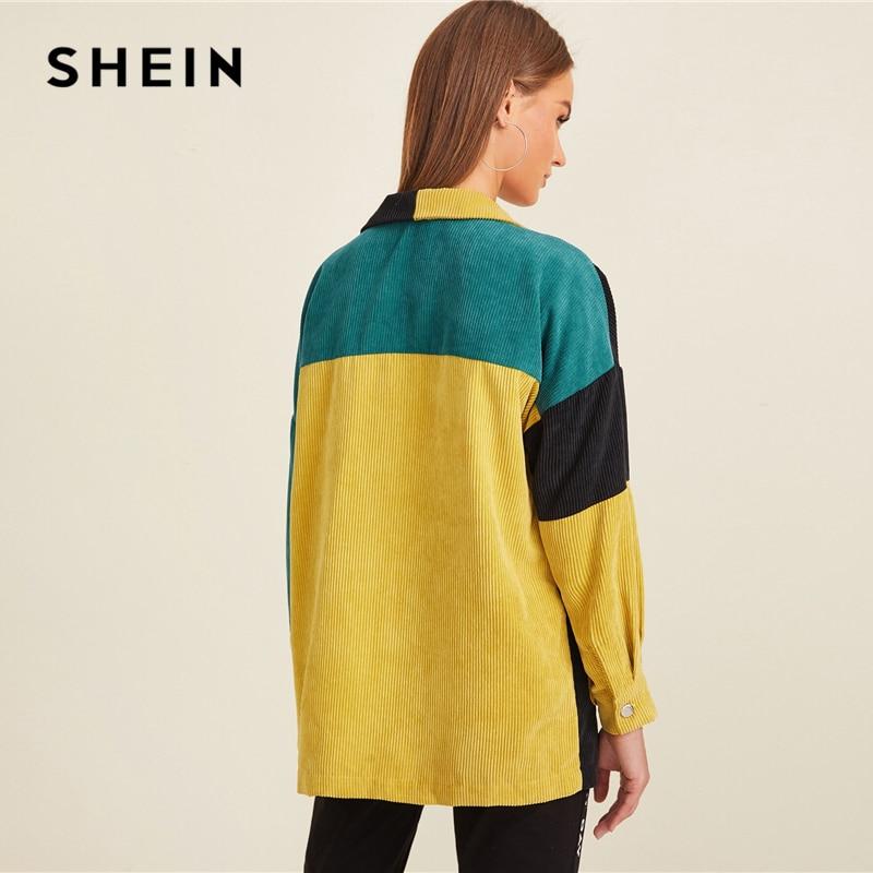 Image 3 - SHEIN Multicolor Pocket Front Colorblock Cord Jacket Coat Women  Autumn Winter Single Breasted Long Sleeve Casual Outwear CoatsJackets