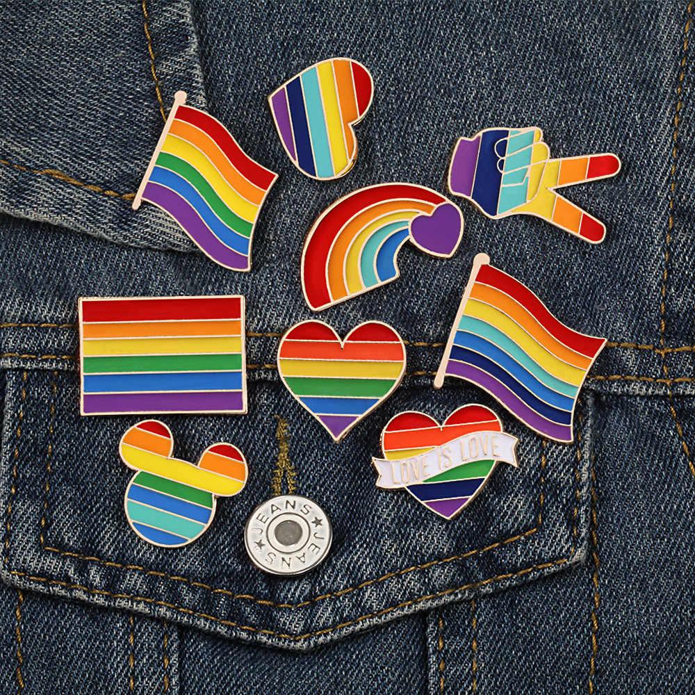 9 Gaya LGBT Desain Pelangi Kreatif Jantung Yeh Jari Pin Bros Pin Logam Lencana Denim Kerah Perhiasan Hadiah Wanita unsix