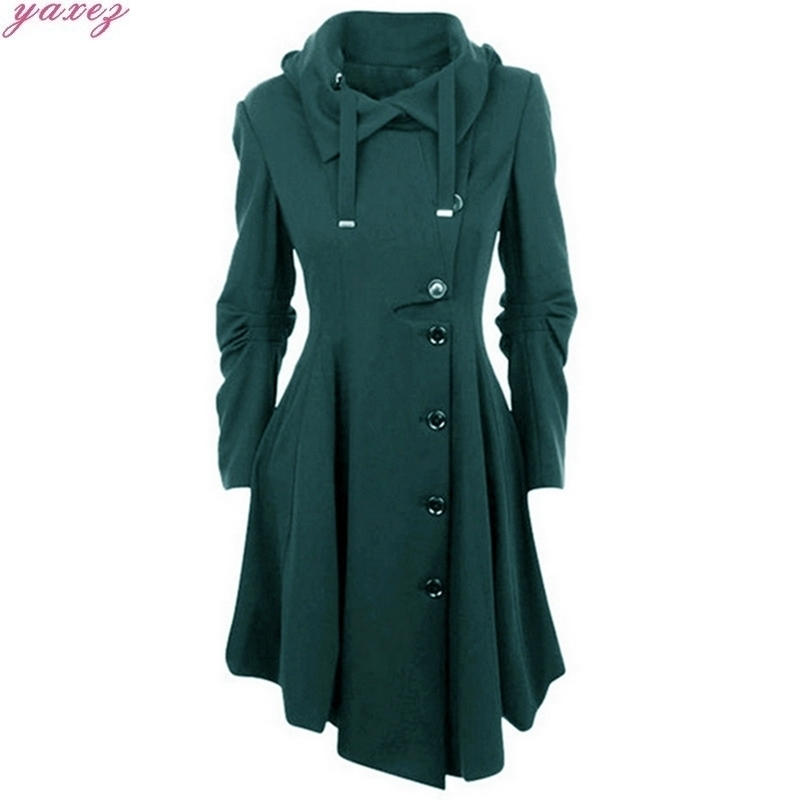 2019 Fashion Long Medieval   Trench   Woolen Coat Women Black Stand Collar Gothic Overcoat Coat Vintage Femme Outwear female coats