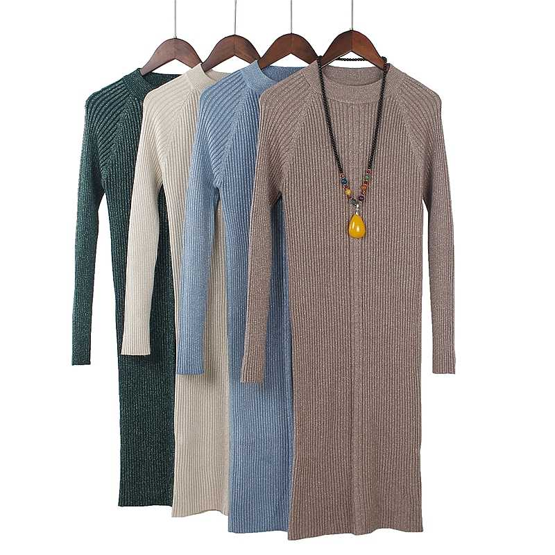GIGOGOU Lurex Glitter Knitted Sweater Dress Women Autumn Winter Warm Pullover Dresses High Elasticity Female Rib Slim Dresses