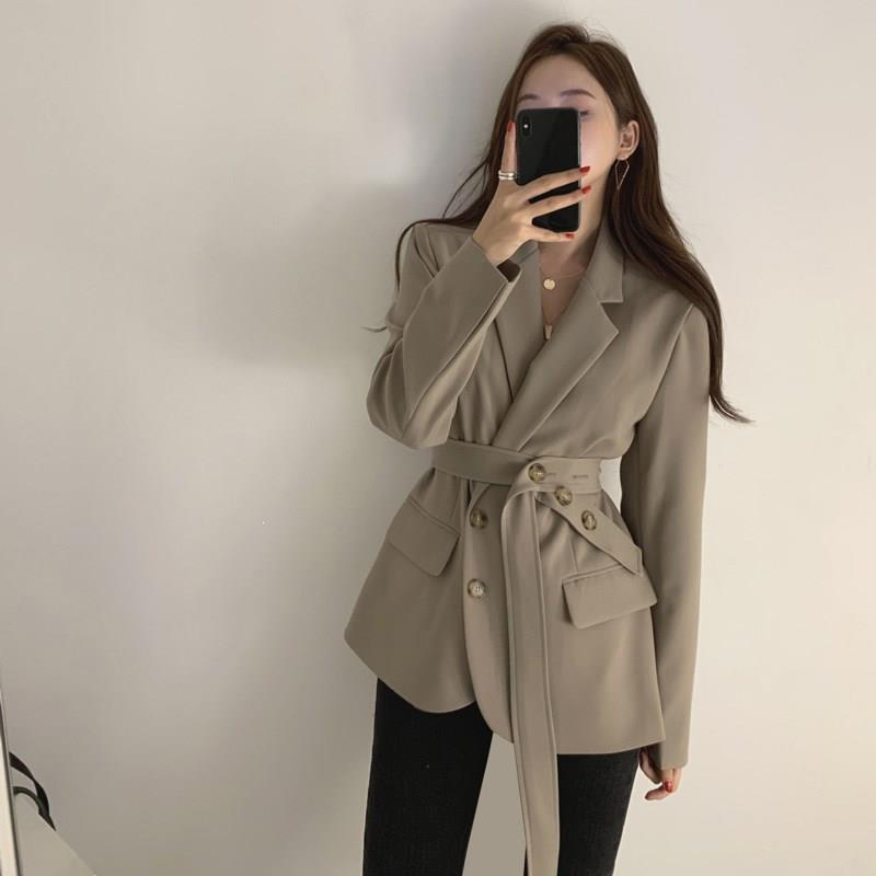 Vintage Lace Up Women Blazer Female Full Sleeve Slim Suit Jacket Solid Elegant Fall Work Style Notched Blazer Outerwear