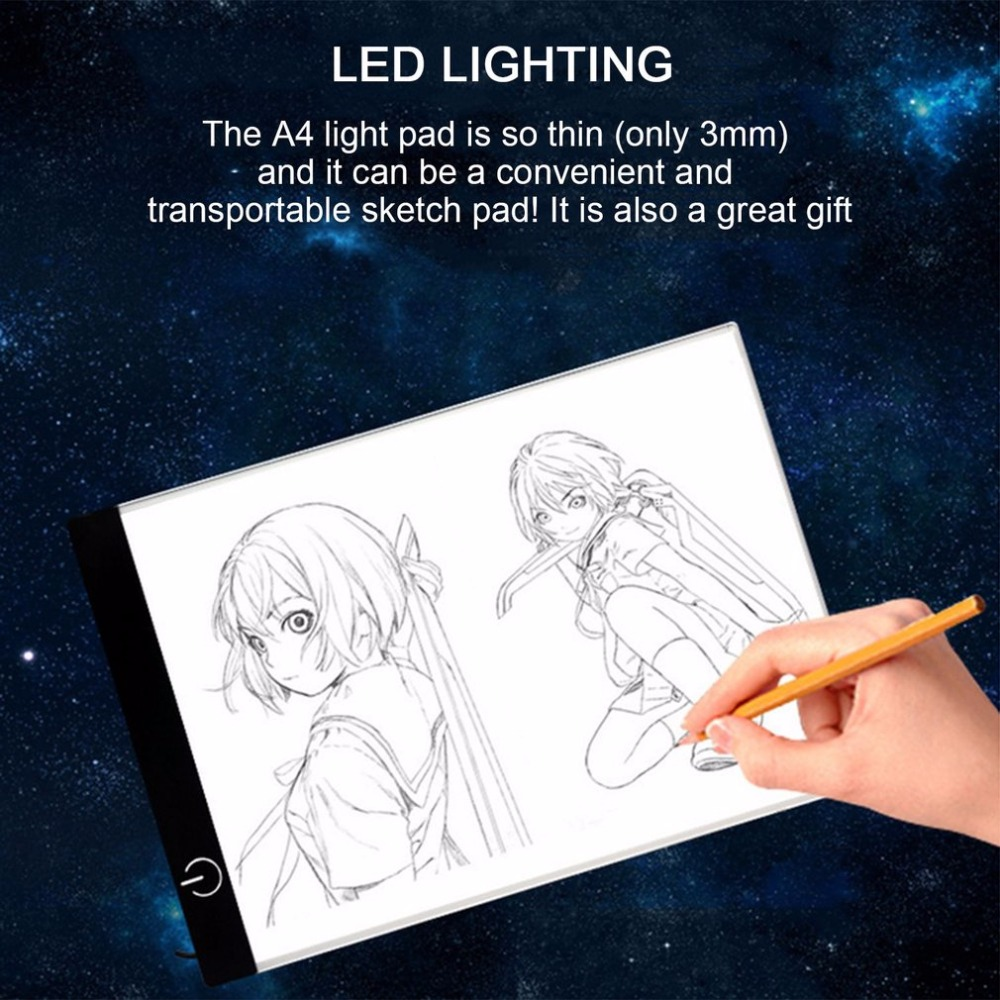Portable A4 LED Light Box Drawing Sketch Pad Copy Board LED Light Pad Panel Copy Board With USB Cable