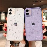 Transparent Bling Glitter Star Telefon Fall Für iPhone 11 12 Pro X Xs Xr Xs Max 12 Mini SE2 7 8 Plus Candy Weiche Stoßstange Abdeckung Shell