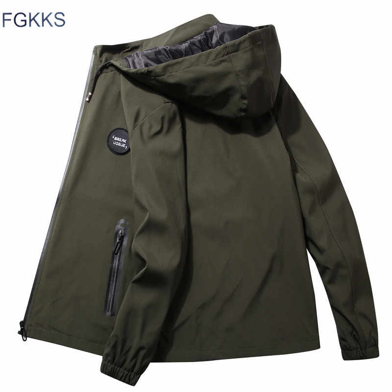 FGKKS Fashion Trend Men Hooded Jackets New Men's Simple Solid Color Thin Jackets Male Casual Wild Jacket Coat Brand Clothing