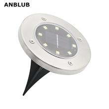 ANBLUB Открытый 8 светодиодный s солнечный наземный светодиодный светильник IP65 Водонепроницаемый Ландшафтный Газон лестница подземный похороненный светильник украшение дома и сада