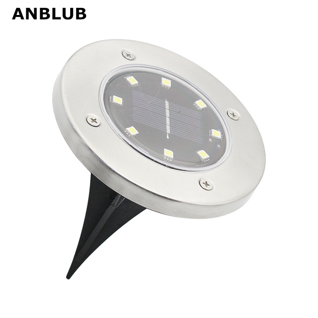 ANBLUB Outdoor 8LEDs Solar Ground LED Lamp IP65 Waterproof Landscape Lawn Stair Underground Buried Light Home Garden Decoration 1