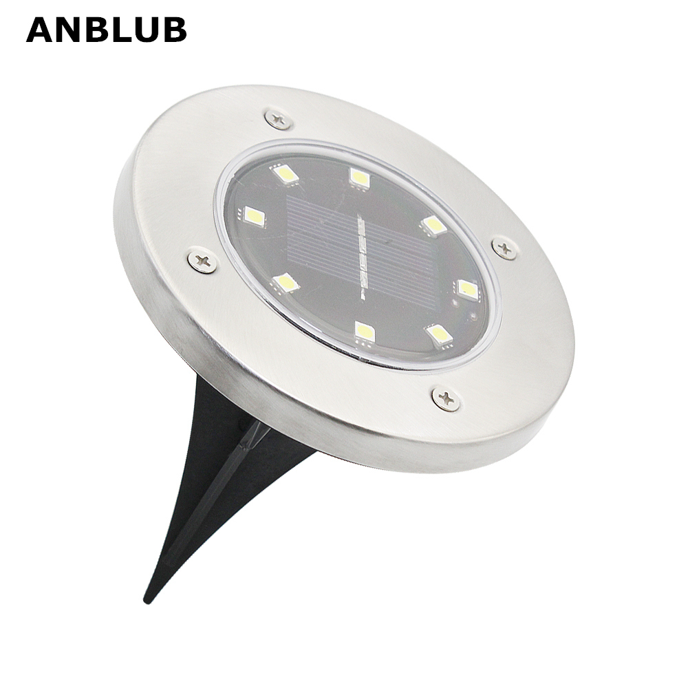ANBLUB Outdoor 8LEDs Solar Ground LED Lamp IP65 Waterproof Landscape Lawn Stair Underground Buried Light Home Garden Decoration