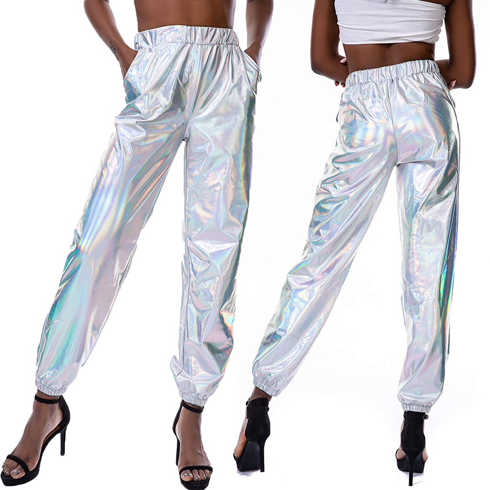 New Shiny Metallic Hot Pants Streetwear Hip-hop Dance Pants For Women High Waist Trousers Holographic Wet Look Pant Women