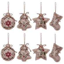 Rustic Christmas Tree Ornaments Stocking Decorations Burlap Country Ball Bell with Red and Green Holly L