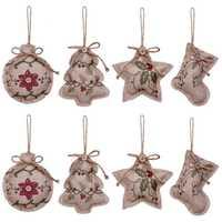 Rustikalen Weihnachten Baum Ornamente Strumpf Dekorationen Sackleinen Land Weihnachten Strumpf Ball Baum Glocke mit Rot und Grün Holly L