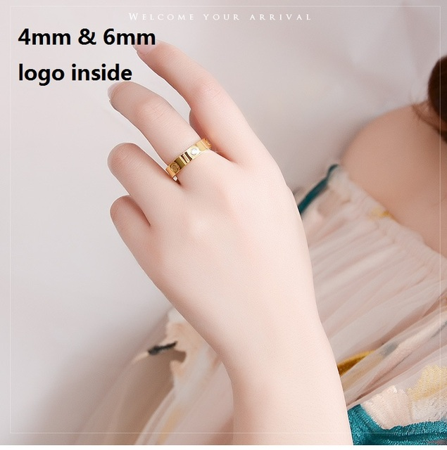 4MM 6MM Crystal Logo Inside Titanium Steel Classic Stainless Steel Screw Rings Gold  Filled Wedding Love Ring for Women