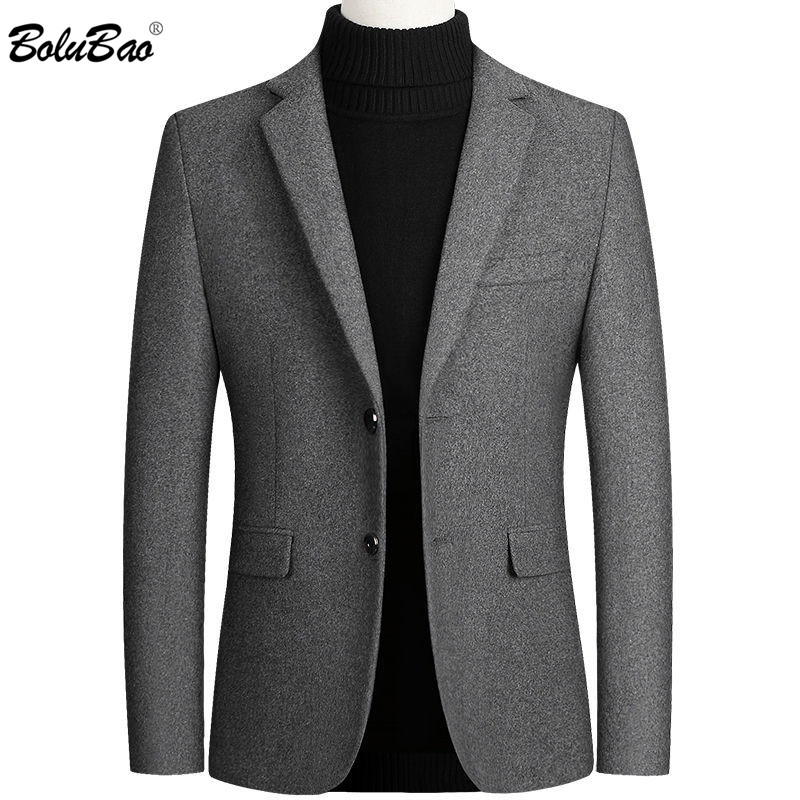 BOLUBAO Quality Brand Men Casual Blazer Autumn Winter New Men's Solid Color Business Wool Suit Luxurious Slim Fit Blazers Male