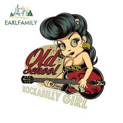 EARLFAMILY 13cm x 11.5cm for Rockabilly Girl Playing Guitar Old School Car Stickers and Decals Vinyl Car Sticker Waterproof 3D