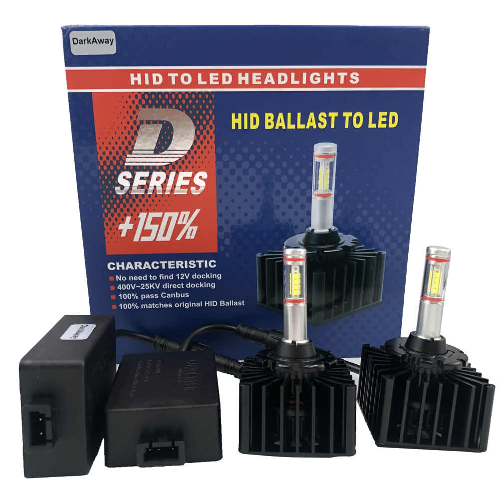 DarkAway D1S LED Bulb D3S D2R D2S D4S D5S D8S Car Headlights Lamp 35W 4000Lm Plug Play to Original HID Ballast Canbus Error Free