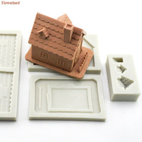 Christmas House Silicone Mold DIY Sugar Chocolate Candy Mold Cake Decorative Clay Mould Cake Baking Tools Cake Decorating Tools