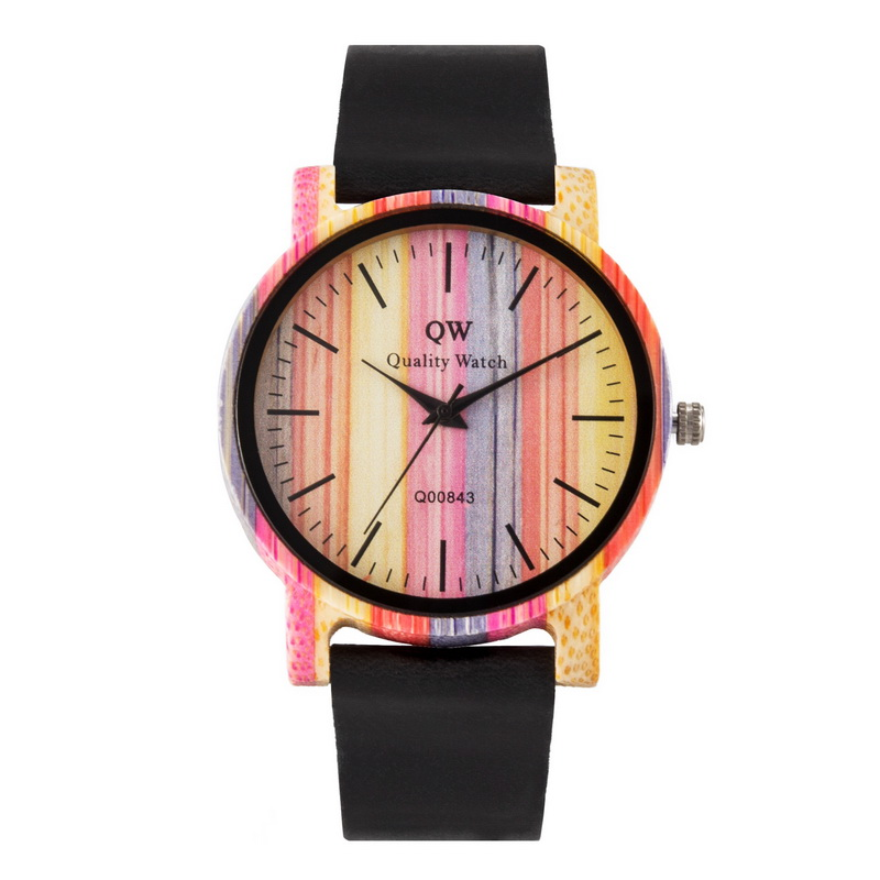 QW Sports Wooden Wristwatches Fashion Leather Colorful Women Girls Custom Wood Bamboo Watch-in Women's Watches from Watches