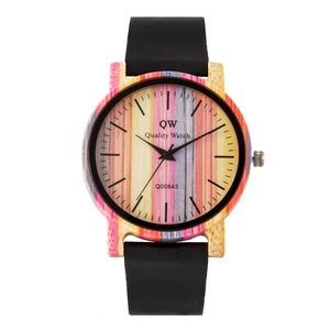 Image 1 - QW Sports Wooden Wristwatches Fashion Leather Colorful Women Girls Custom Wood Bamboo Watch
