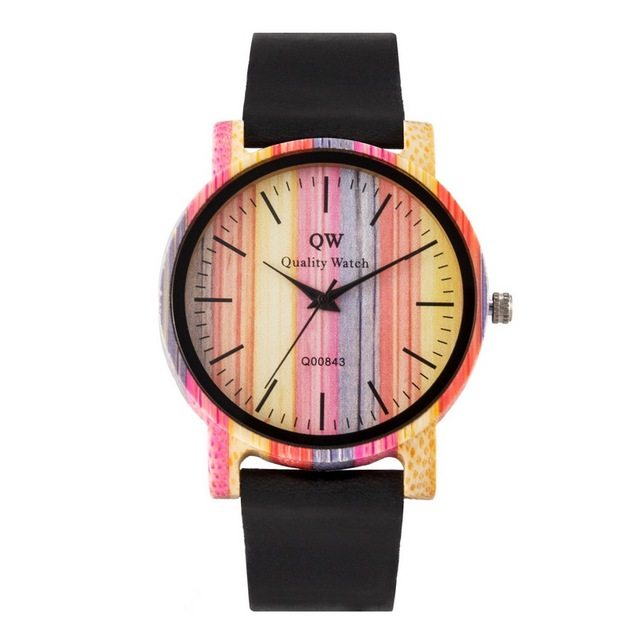 QW Sports Wooden Wristwatches Fashion Leather Colorful Women Girls Custom Wood Bamboo Watch