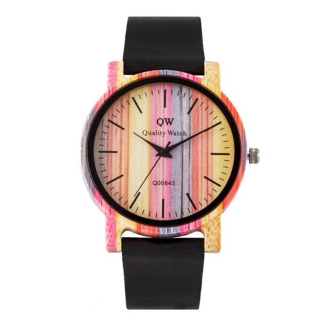 QW ספורט עץ שעוני יד אופנה עור צבעוני נשים בנות מותאם אישית עץ במבוק שעון