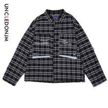 UNCLEDONJM Front Large Pocket Plaid Shirt Designer 2019 AW Mens Clothing Streetwear Men Women Long Sleeve Male 492W