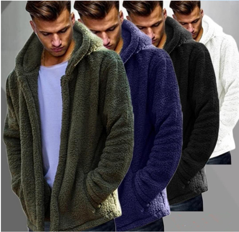 2019 Winter Male Coat Double-Sided Plush Warm Coat Casual Solid Color Hooded Cardigan Long Coat Men Winter Jacket