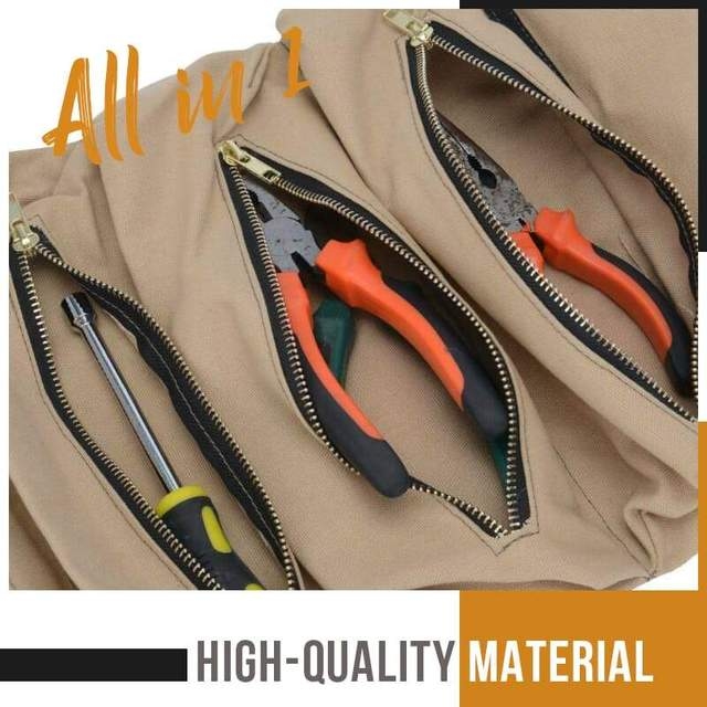 Mintiml roll tool roll multi-purpose tool roll up bag wrench roll pouch hanging tool zipper carrier tote