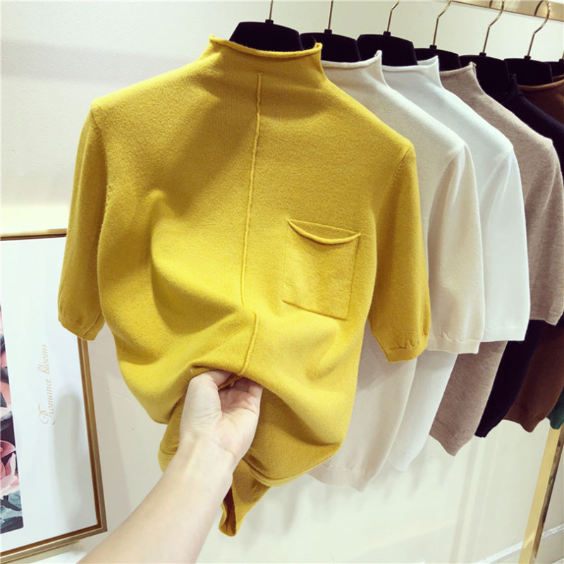 Half Sleeve Women Knitted Tops Fashion Female Sweater Half Turtleneck Short Sleeve Pullovers Yellow New Arrival Pull Sweaters