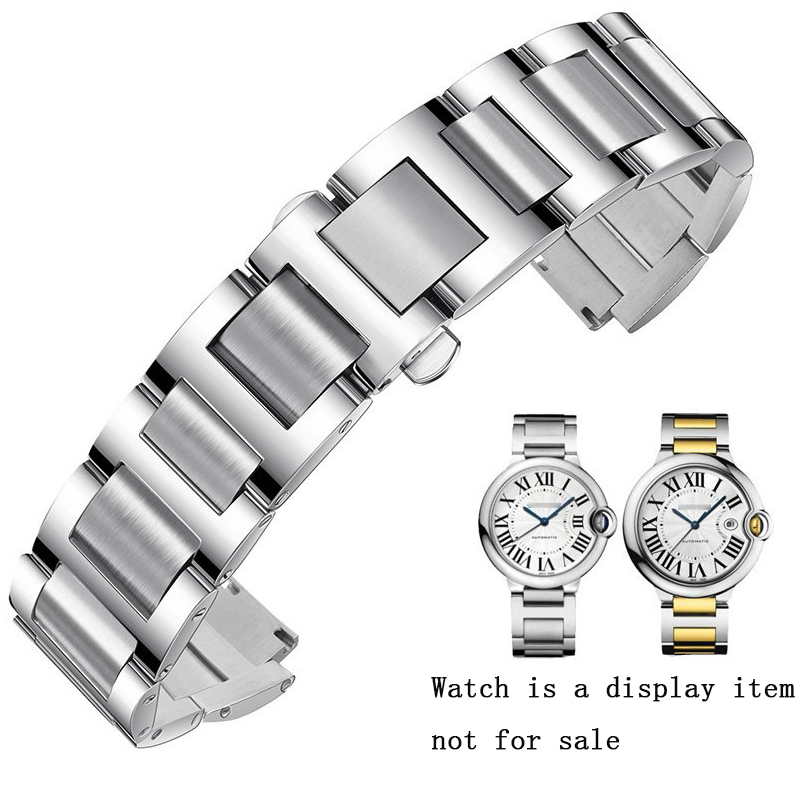 Watch Accessories 14 12 11 9 8mm For Cartier Blue Balloon Stainless Steel Strap Men And Women 316 Stainless Steel Folding Buckle