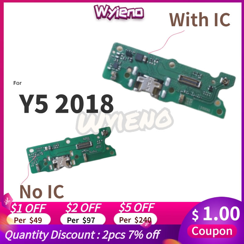 Wyieno For Huawei Y5 2018 Charger Port Board USB Charging Connector Flex Cable Microphone Mic Plug Replacement Parts + Tracking