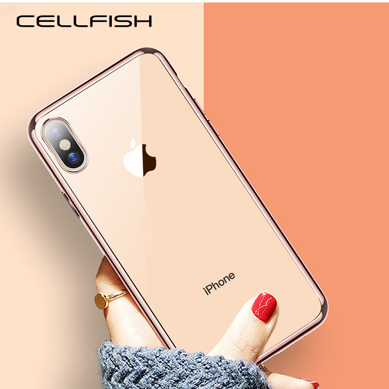 Luxury Electroplating Chrome Transparent Cover <font><b>Case</b></font> for Coque <font><b>iPhone</b></font> XS MAX XR 8 7 6s 6 Plus <font><b>5s</b></font> SE Clear Golden Plated Edge CAPA image