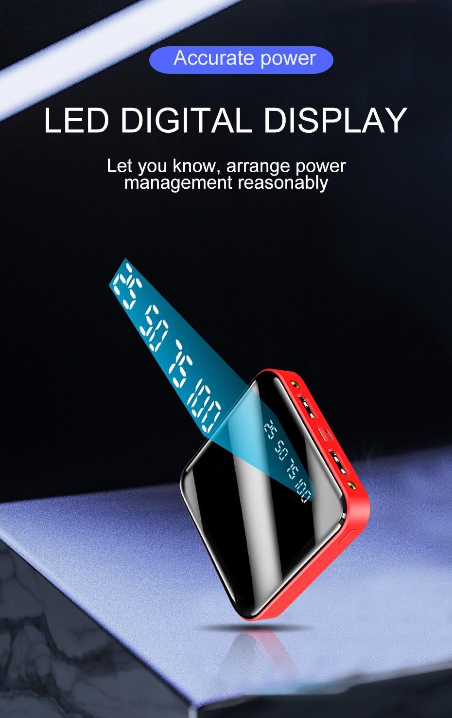 PINZHENG Mini Portable 10000mAh Power Bank For Xiaomi Mi With LED Digital Display 13