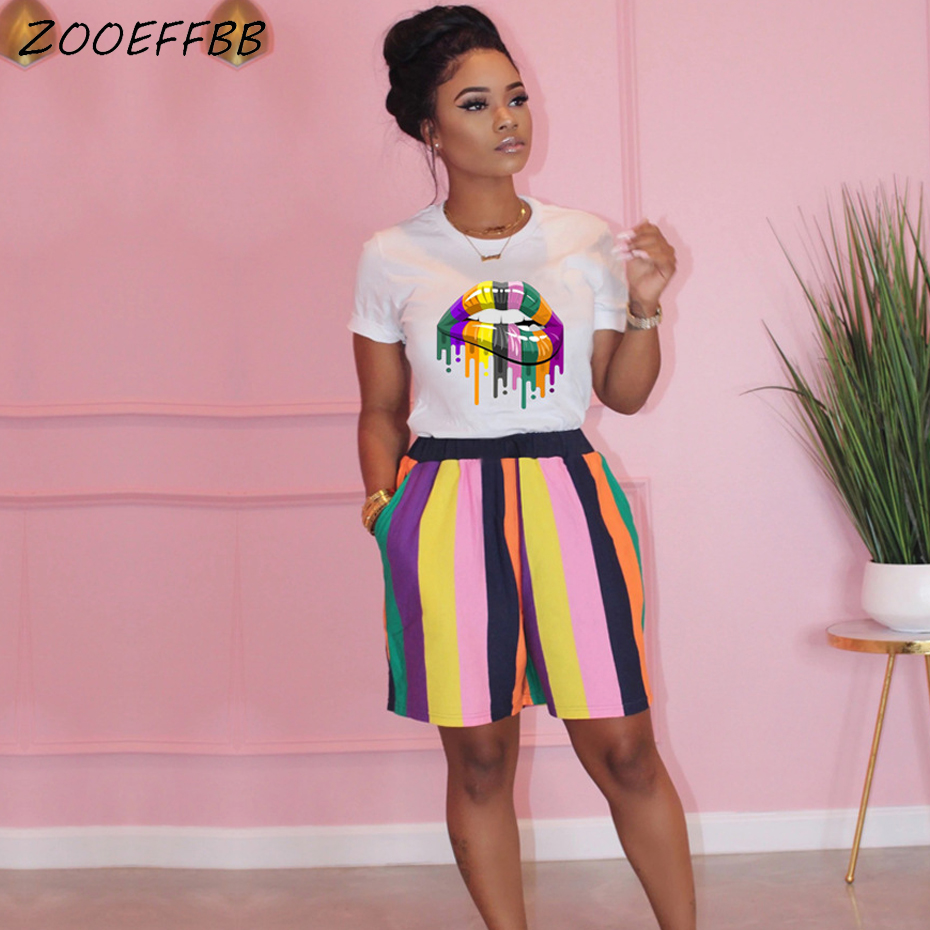 ZOOEFFBB Two Piece Set Summer Clothes for Women Tracksuit Lips Top Stripe Biker Shorts Sweat Suits 2 Piece Outfits Matching Sets