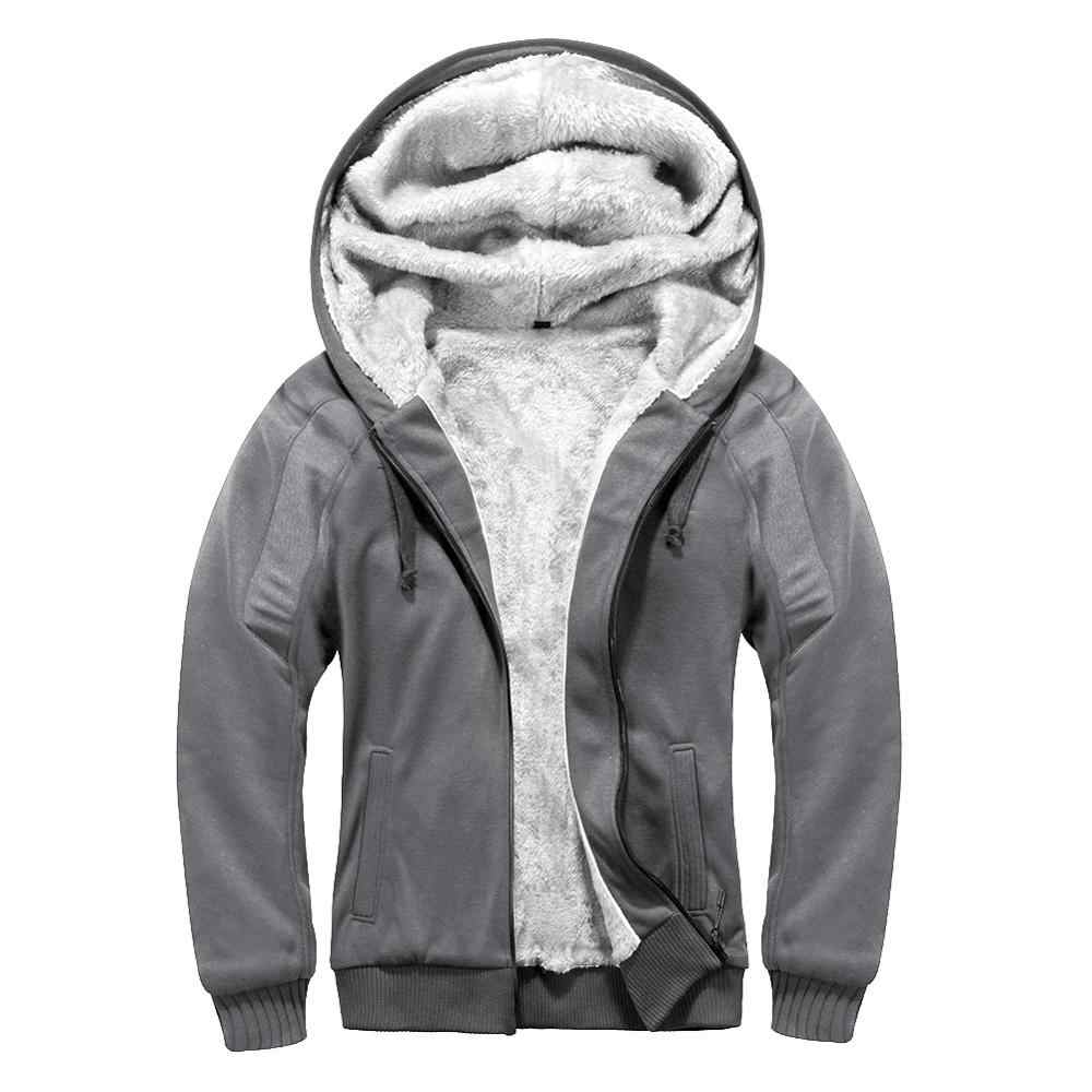 Thick Warm Winter Jacket Men Zip Up Fleece Hoodie Coat Brand Clothes Solid Fleece Hooded Sweatshirt Outwear Male Chaqueta Hombre