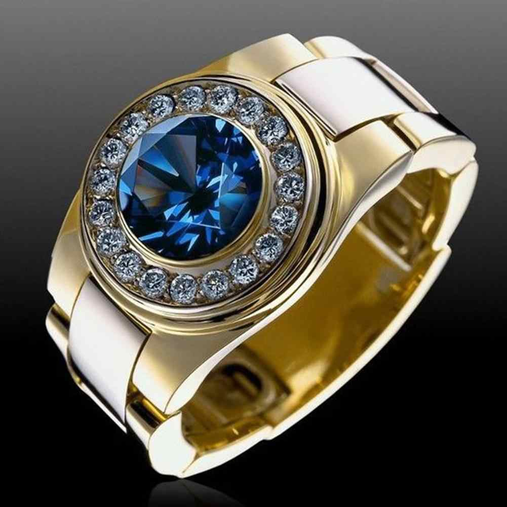 Homens da moda Rodada Cubic Zirconia Wedding Band Engagement Ring Finger Jóias