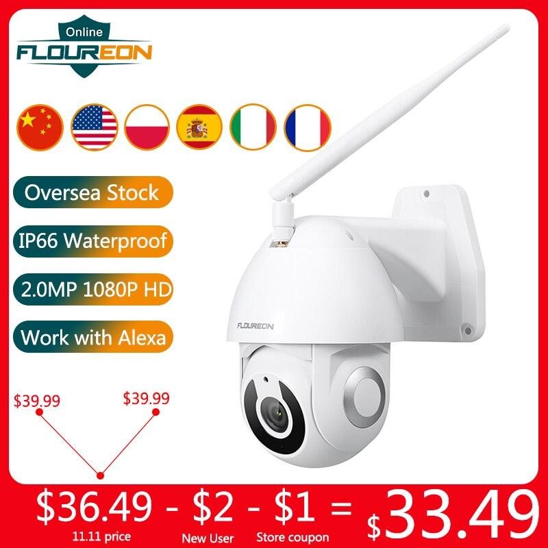 Floureon 2019 New 1080P HD IP Camera Wireless WiFi Outdoor Camera Smart Motion Tracking App Alarm Camera Compatible With Alexa