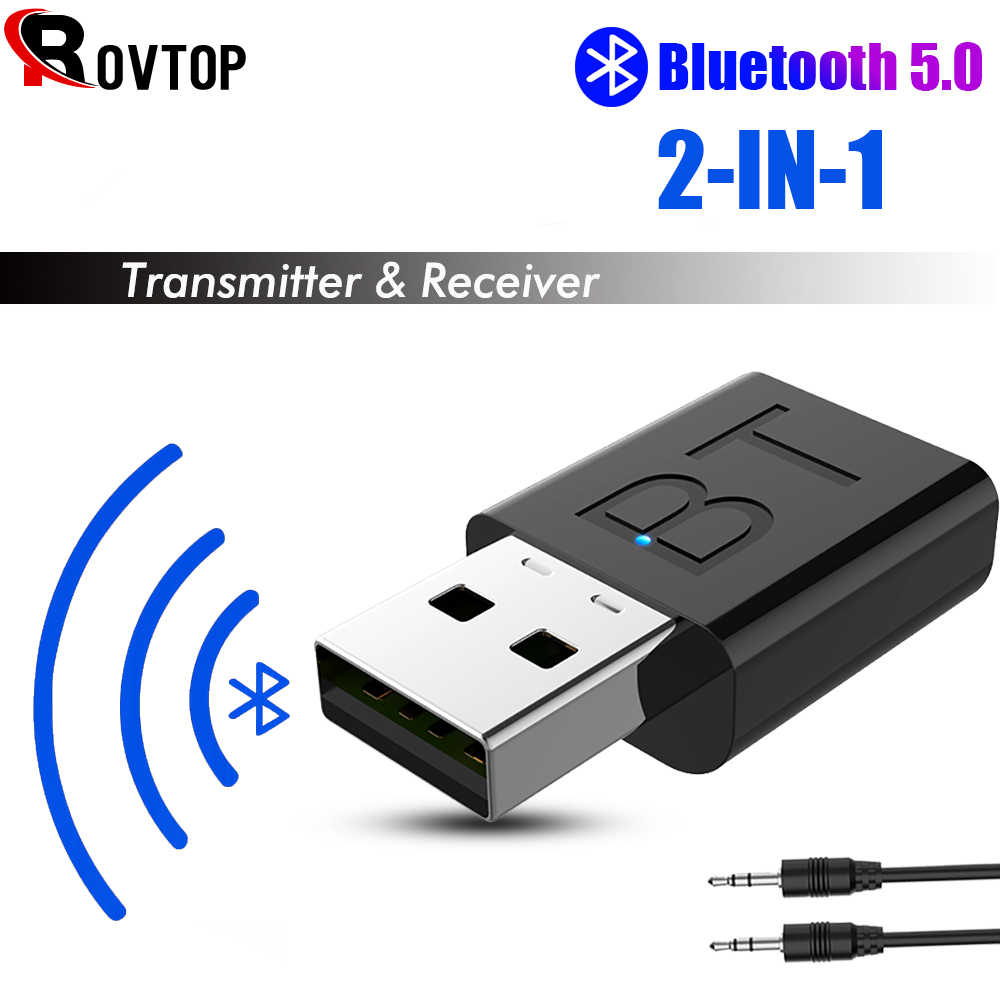 2 In 1 Draadloze Bluetooth 5.0 Receiver Adapter USB Bluetooth Zender Stereo Audio Headphone Adapter voor TV Speaker Car Kit