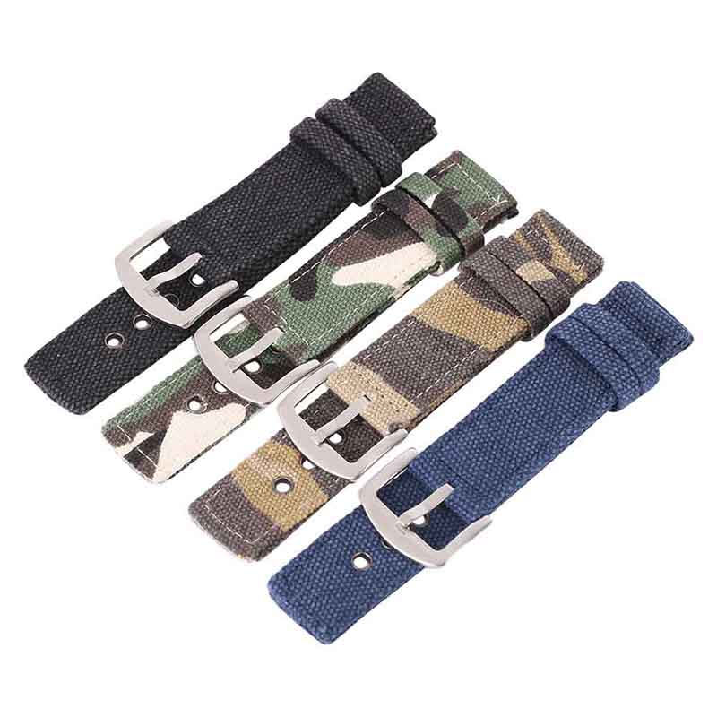 Watch Band Strap Printed Pin Buckled Adjustable Canvas Wristband Wristwatch Bands Replace Desert Accessories For Sports Watches