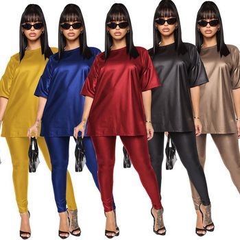 Women's Pencil Pants Faux Leather Skinny Sexy Multicolor Suit Large Size Slim Ladies Solid Color Two-piece Suit Ropa Mujer 1