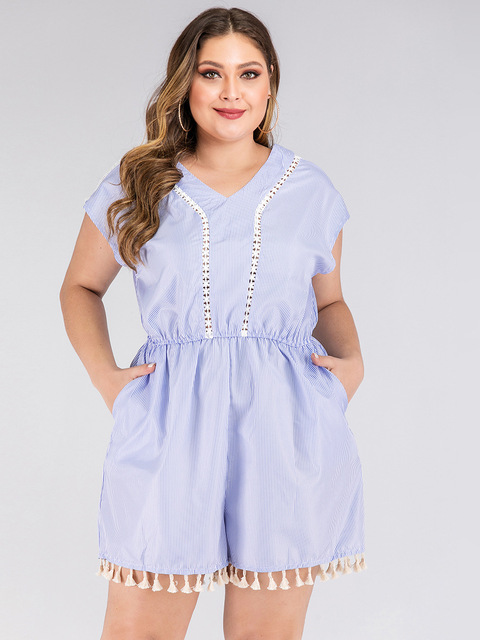 2020 summer plus size jumpsuit for women large sleeveless loose casual lace stripe V neck short jumpsuits blue 4XL 5XL 6XL 7XL 3