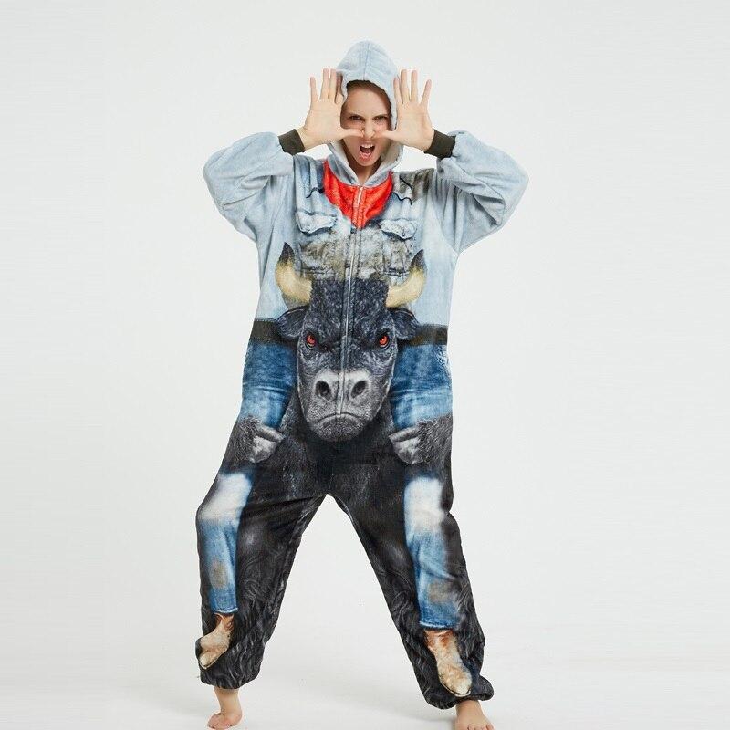 Nouveau adulte minotaure cosplay pyjamas pour hommes femmes à capuche pyjamas ensemble costume doux noël vêtements de nuit femmes hiver chemise de nuit